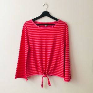 J.Crew | Striped Boatneck Front Tie Sweater